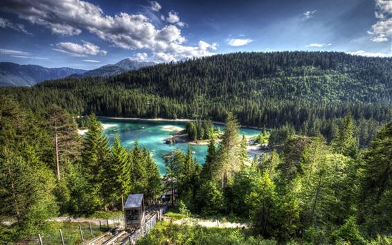 Обои Швейцария, озеро озеро, лес, деревья, остров