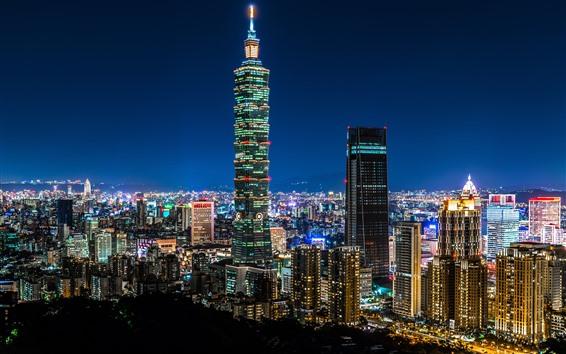 Fond d'écran Taipei 101 bâtiment, Taïwan, gratte-ciel, lumières, nuit, ville