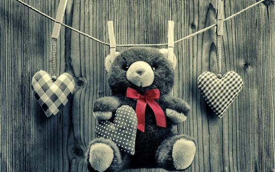 배경 화면 테디 베어, 장난감, 로프, 사랑의 마음, 흑백 스타일