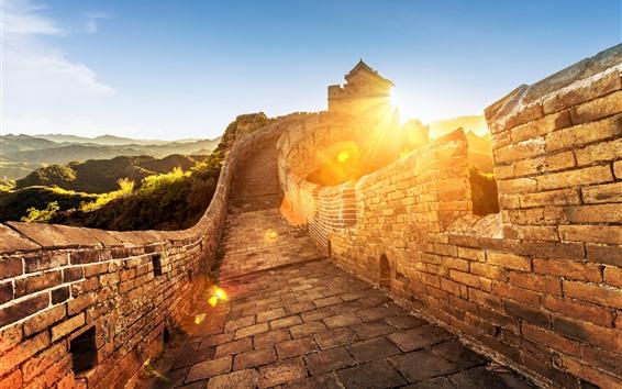 Wallpaper The Great Wall, sunrise, China