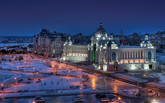 Fond d'écran Le palais des agriculteurs, Kazan, ville, neige, lumières, nuit