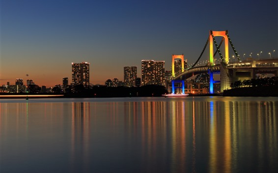 Fondos de pantalla Tokio, Japón, Puente, Luces, Noche, Río, Ciudad