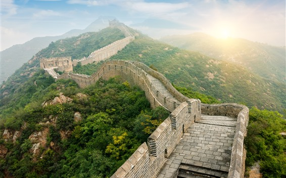 Wallpaper Travel to China, The Great Wall, sunrise