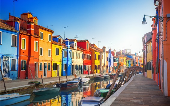 Wallpaper Venice, Italy, colorful houses, river, boats, city