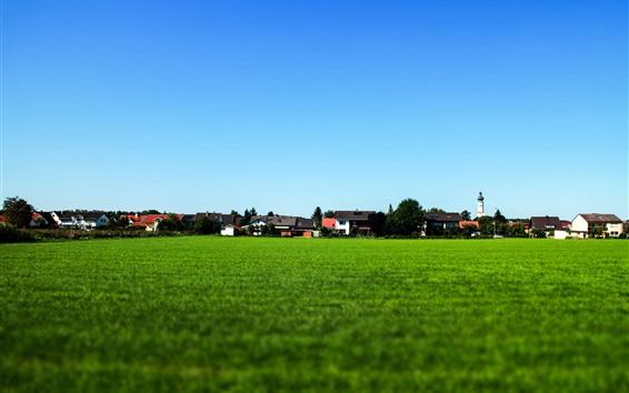 Wallpaper Village, countryside, green field, houses, blue sky