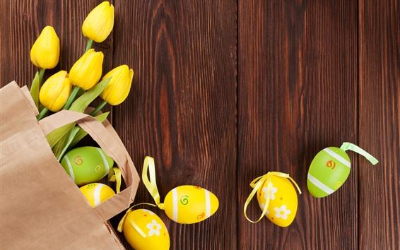 Papéis de Parede Tulipas amarelas e ovos de Páscoa