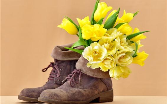 Обои Желтые тюльпаны, цветы, обувь