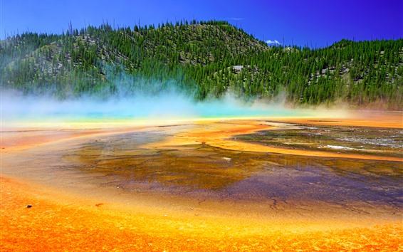 Papéis de Parede Parque Nacional de Yellowstone, Montanhas, Árvores, Lago, Nevoeiro, EUA