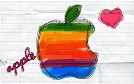 Preview wallpaper Apple drawn on paper