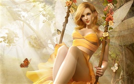 Preview wallpaper Blond girl playing swing