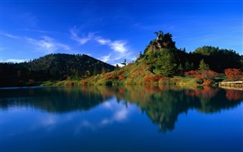 Blue sky blue water green hill