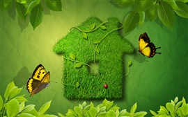 Preview wallpaper Butterflies fluttering green leaves around the house