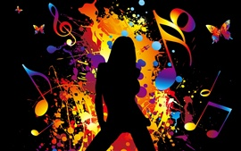 Colorful Vector music girl dancing