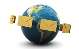 E-mail around the earth 3D