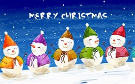 Preview wallpaper Five lovely hand painted snowman