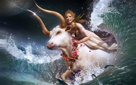 Girl riding a white cow in the water running