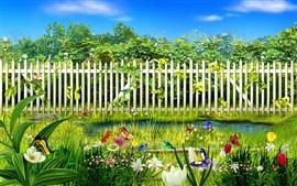 Verde jardín de flores de la primavera
