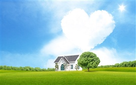 Preview wallpaper Heart-shaped clouds of love