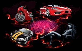 Preview wallpaper Red fire red car