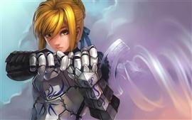 Aperçu fond d'écran Une armure d'argent tenant une épée filles anime