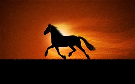 The black silhouette of a horse running