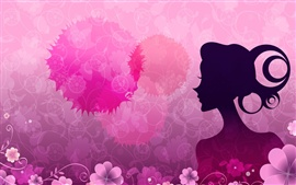 Preview wallpaper Vector women pink flowers