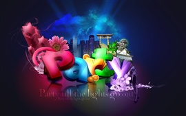 3D colorful party