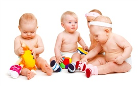 Preview wallpaper Babies play with toys