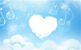 Aperçu fond d'écran Cloud et le cœur de la musique amour