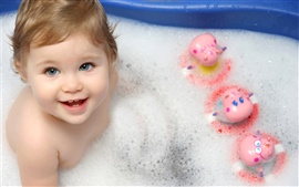 Preview wallpaper Cute baby taking a bath