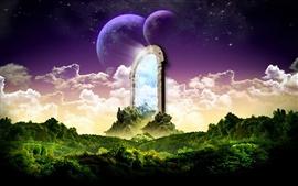 Fantasy landscape stone door
