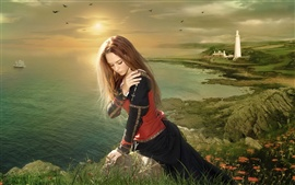 Девочка сидит на побережье