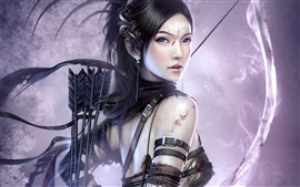 Preview wallpaper Girl with bow and arrow