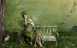 Green butterfly wings girl