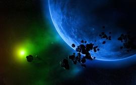 壁紙のプレビュー 緑の光と青の惑星