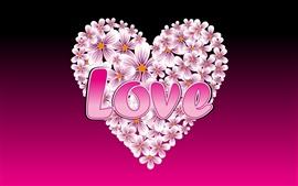 Flores en forma de corazón de amor