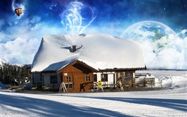 Preview wallpaper Hot air balloon and house in winter
