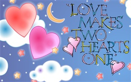 Preview wallpaper Love makes two hearts one