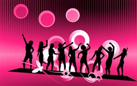 People silhouette Vector purple background