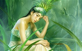 Preview wallpaper The girl in green grass