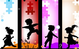 Preview wallpaper Vector silhouette of children