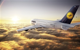 Preview wallpaper Airbus A380 flight clouds