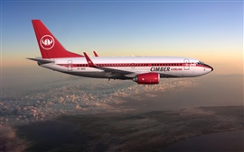 미리보기 배경 화면 하늘에있는 보잉 737 비행