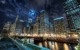 Preview wallpaper Chicago city night lights