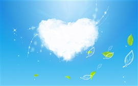 Preview wallpaper Clouds of Love and green leaves