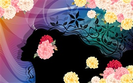 Preview wallpaper Colorful flower vector woman