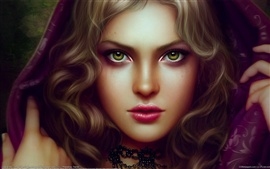 Preview wallpaper Green eyes fantasy girl