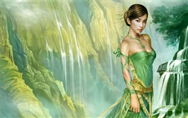 壁紙のプレビュー グリーンのスカート東洋の少女