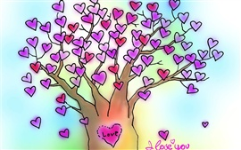I Love You love heart tree