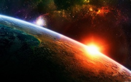 Preview wallpaper Sunrise Earth in space